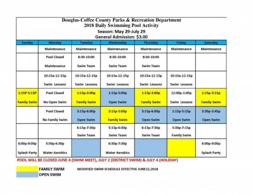 Douglas Coffee County Parks and Recreation releases pool schedule