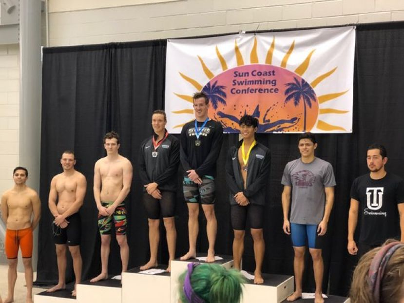 SGSC swimmer Andrew Brown (second from left) from Lake Placid, Fla., placed 6th place in the 200 breaststroke.