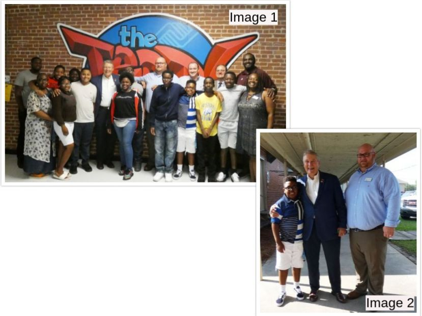 "Image 1: Pictured with Congressman Allen are Dr. Morris Leis, Superintendent; Michael ""Bull"" Brown, Program Director; Lee Taylor, Chairman of the Coffee County Boys and Girls Club; LaShanda Harris, Site Coordinator for the new Boys and Girls Club Teen Center located on the campus of  George Washington Carver Freshman Campus; Eric Nwawel, classroom teacher; Faye Bowman and Richard Mitchell, paraprofessionals; and students:  Angelique Jackson, Samuel Brockington, Denetra McRae, Marquese Ross, Drayton"