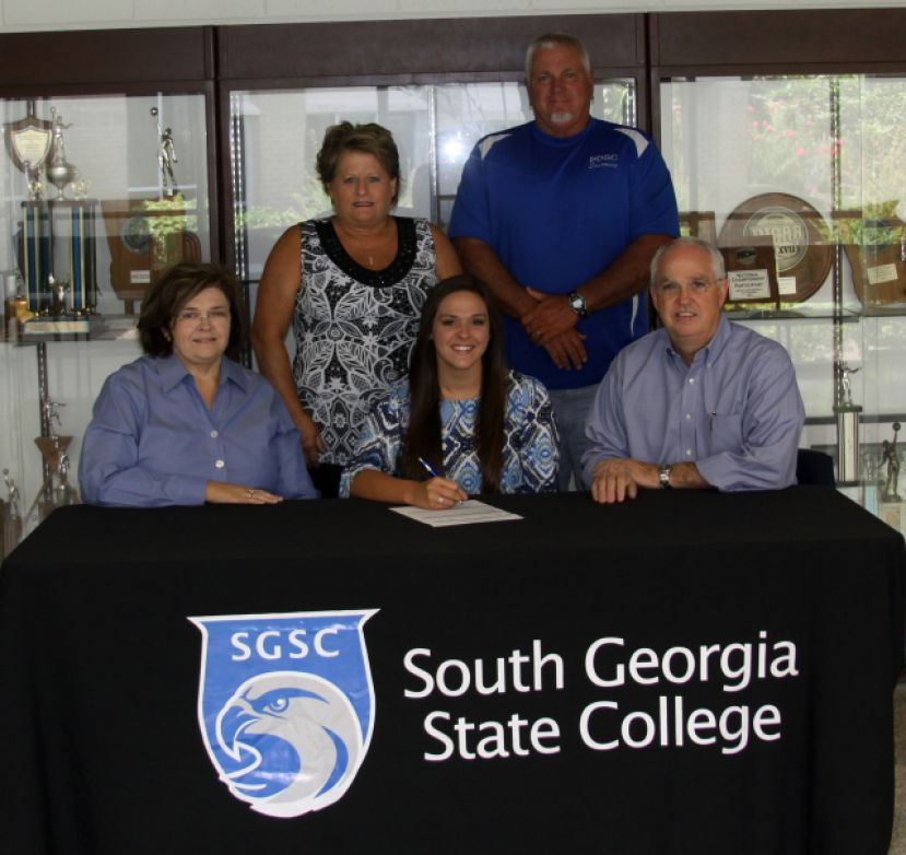 Pictured seated from left: Tammy Fussell, Rachel Fussell, and Dr. Timothy Fussell. Standing from left are Coffee High Coach Barbara Joiner and SGSC Head Coach C.M. Jenkins.