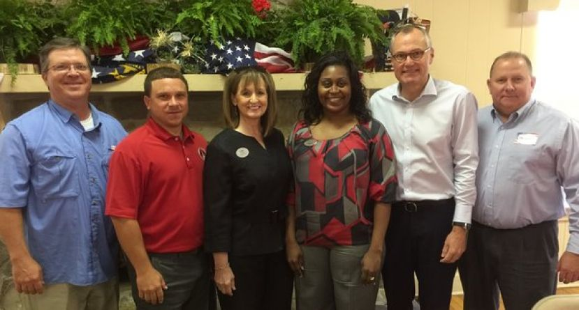 From left: State Representative Clay Pirkle, Senator Tyler Harper, Chamber Staff, Lisa Hodge and Mesha Davis, Lieutenant Governor Casey Cagle and Georgia Department of Labor and Chamber Board Chairman Stanley Lott.