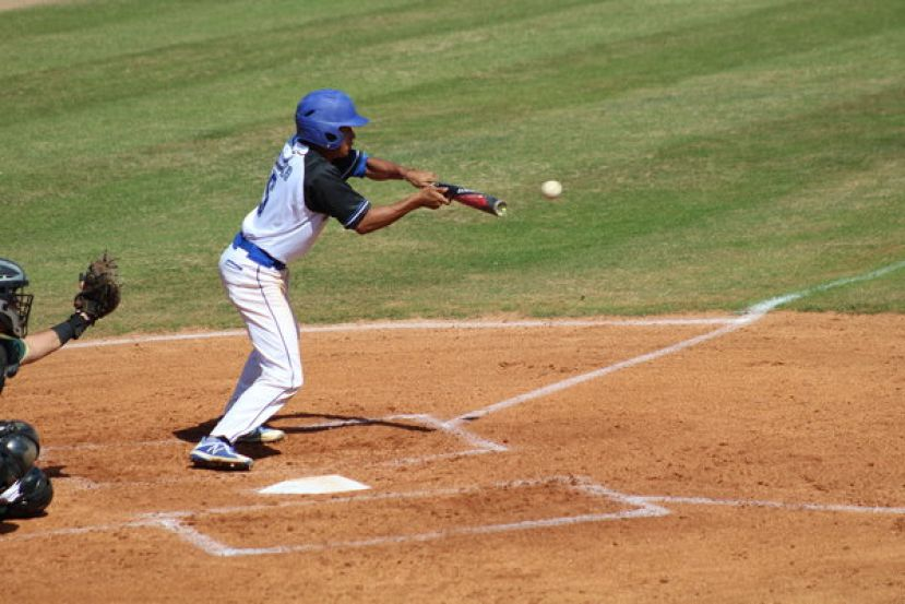 Blake Brito from Pembroke Pines, Fla., gets a hit in a recent game at SGSC.