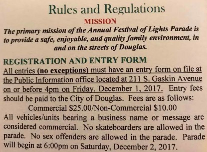 This is a portion of the city's rules for the annual Christmas parade, which will take place on Dec. 2. The two sentences regarding skateboarders and sex offenders has caused quite a bit of controversy -- to the point that skate magazine Concrete Wave has picked up the story.