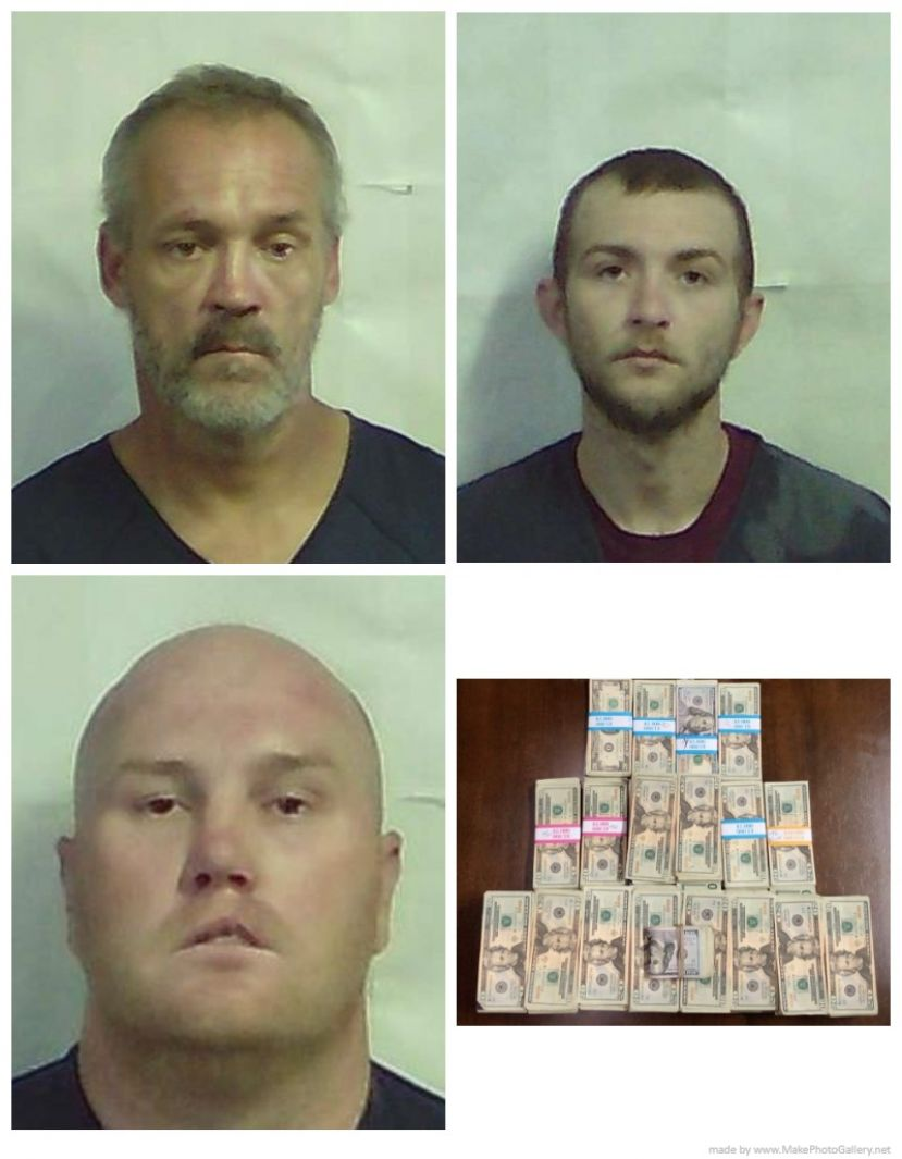 Grant Joshua Brinkley (top left), Joshua Hutto (top right), Christopher Paul Duckworth (bottom left), some of the cash confiscated (bottom right).