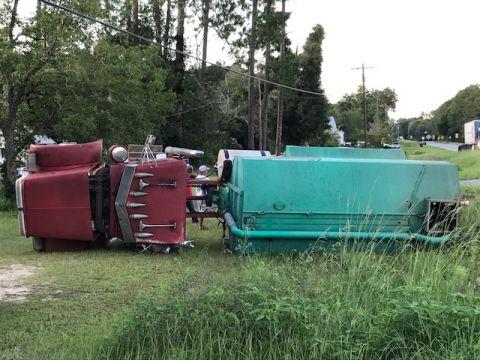 Fertilizer truck overturns in West Green