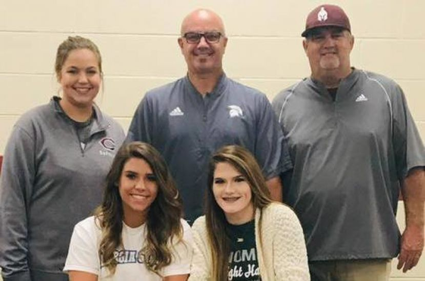 Front row: Hollynn Lott (left) and Laykin Brown (right) will play softball for Georgia State University and Thomas University, respectively.