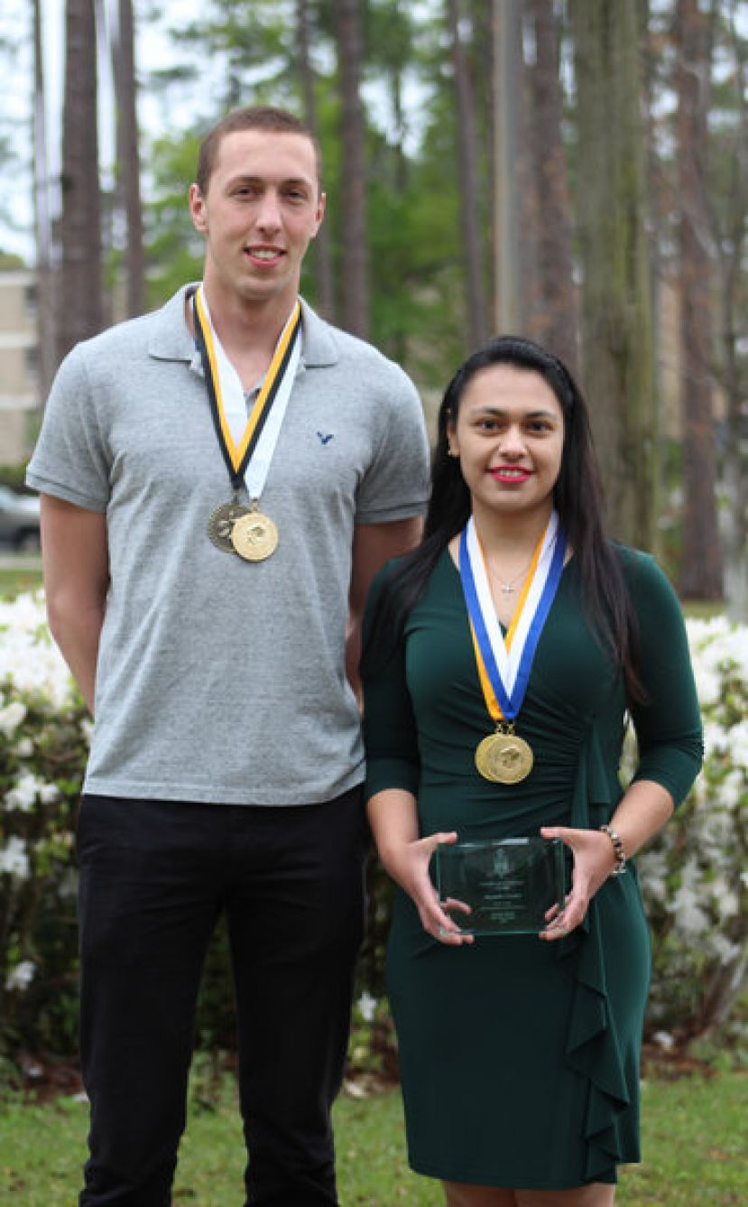 Zac Elz of Cumming, Ga., and Alexandra Cardiel of Pearson, Ga., received awards at the Phi Theta Kappa Conference in Atlanta.