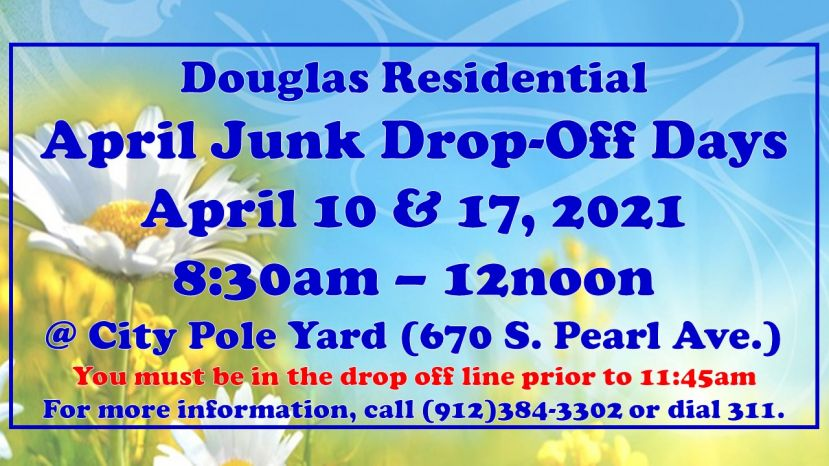 Residential junk drop off dates for April