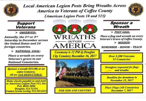 Wreaths Across America to place wreaths in honor, support of veterans