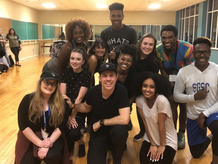 SGSC Theatre Students pose with Master Instructor and Broadway legend James Gray and student peers from other colleges and universities after an intensive Broadway Dance Boot Camp.