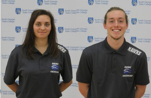 (L to R) Jessica Dunton won two events and Jackson Bloom set a new team record with the 100 butterfly.