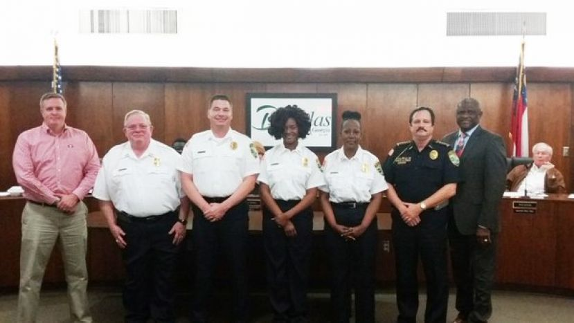 Special thanks to these community chaplains who have volunteered to be of service to the Douglas Police Department. Pictured L-R: Commissioner Mike Gowen, Father John Commins, Brother Bob Powell, Minister Donna Simpson, Pastor Dawn Jones, Police Chief Casteloes, and Mayor Tony Paulk