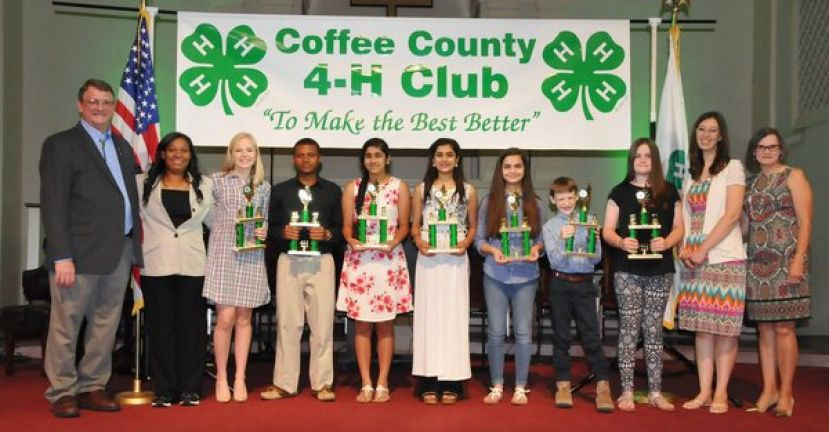 Outstanding 4-H Member Award Recipients (from left): Kevin Tatum, 4-H  Agent, Chalanda Woods, AmeriCorps Member, Evie Woodward, Micheal Woods, Muskan Minhas, Ishika Sadarangani, Alexandra Rivero, Glenn O'Steen, Natalie Newell, Alyse Hall, 4-H Program Assistant, and Liz Batten, 4-H Program Assistant.