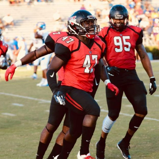 Jameon Gaskin (47) celebrates a big tackle for the VSU Blazers.