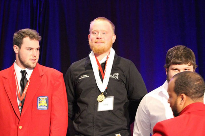 Here pictured in the center Morgan Davis, Wiregrass Welding graduate, competed in the state SkillsUSA Welding competition in 2019 and earned a gold medal and in 2018 he brought back a silver medal.  Davis is employed at Hunt Industries as a welder in Valdosta.