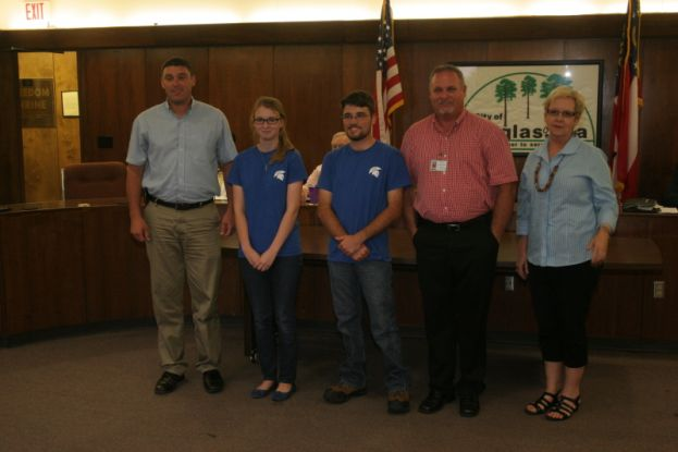 Pictured are the City of Douglas's interns from the Coffee County School System's STEM internship program with their department heads (from left): Jacob Lott, City of Douglas; Haley Engram, intern; Jacob Kirkland, intern; Mike Hudson, City of Douglas; and Linda Cribbs, the school system's Work Based Learning Coordinator.