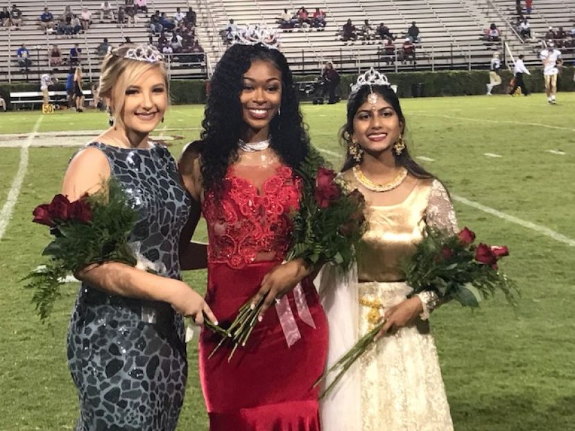 Here are the 2018 Homecoming princesses and queen (from left): Sands Lee Mobley, Zianna Odom, and Ashi Furtado.