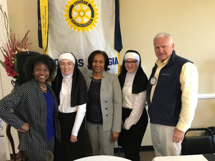 From left: Katherine LeRoy-Lawson, Victoria Highsmith, SGSC President and Rotarian Dr. Ingrid Thompson-Sellers, Ivee Cole, and Rotary President Steve Bailey.