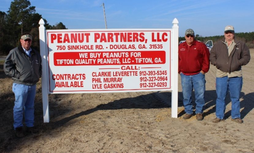 Phil Murray, Clarkie Leverette and Lyle Gaskins stand on the site where a new peanut buying point will soon be located in Douglas on the Sinkhole Road. Peanut Partners, LLC will buy peanuts for Tifton Quality Peanuts, LLC and is expected to open in August of this year. Contracts for peanut farmers are now available.