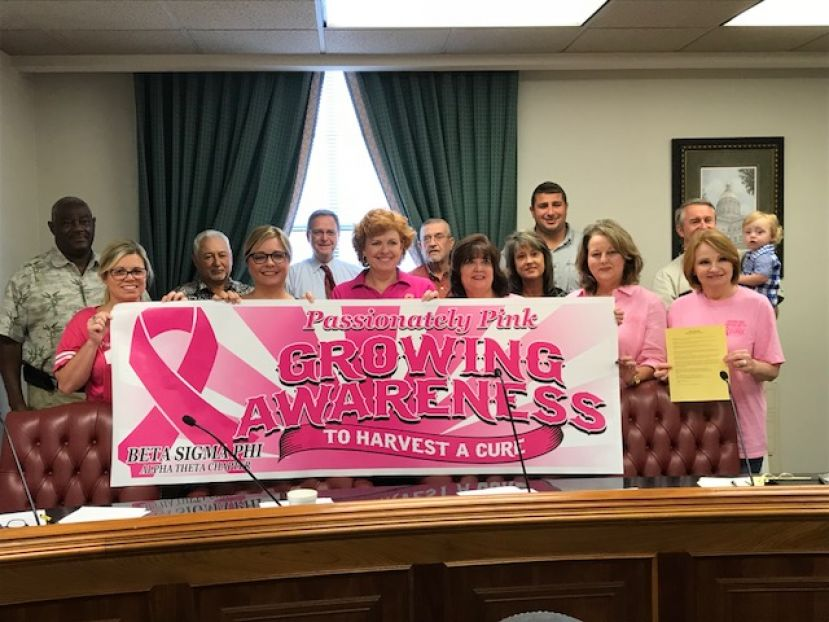 Members from the Alpha Theta chapter of Beta Sigma Phi display the 2018 Passionately Pink Day banner with the Coffee County Commission last week. The commission has named Oct. 25 as Passionately Pink Day in Coffee County to raise awareness and funds for a breast cancer cure.